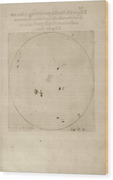 Galileo's Observation Of Sunspots Wood Print by Library Of Congress