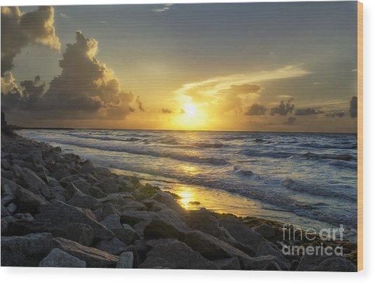 Galveston Sunrise Wood Print