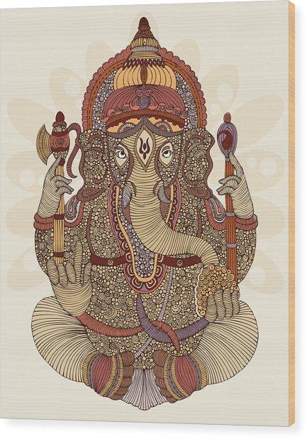 Ganesha Wood Print by Valentina Ramos