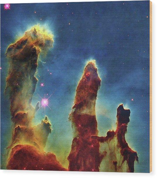 Gas Pillars In The Eagle Nebula Wood Print by Nasaesastscij.hester & P.scowen, Asu