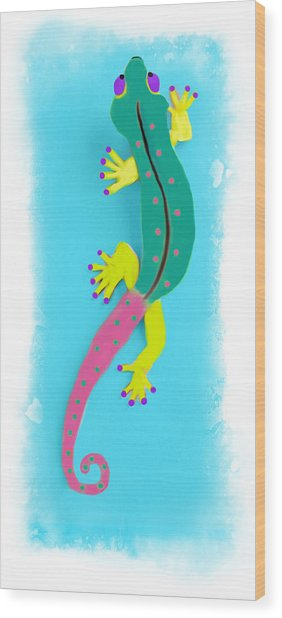 Wood Print featuring the mixed media Gecko Two by Deborah Boyd