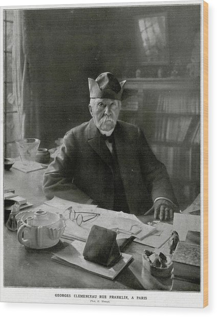 Georges Clemenceau  French Statesman Wood Print by Mary Evans Picture Library