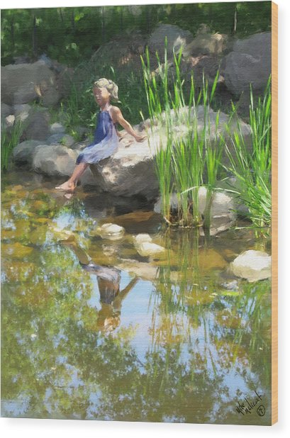 Girl At The Pond Wood Print