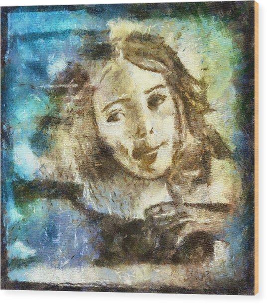 Girl In Blue Wood Print by Jennifer Woodworth