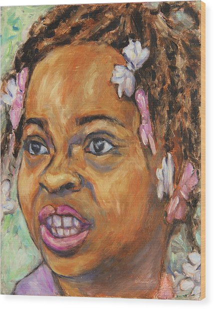 Girl With Dread Locks Wood Print