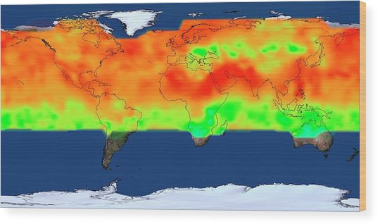 Global Co2 Concentrations Wood Print by Nasa's Scientific Visualization Studio