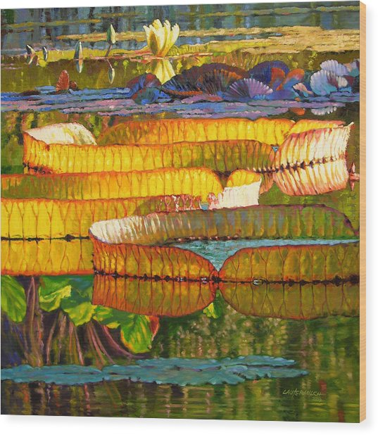 Glorious Morning Lilies Wood Print