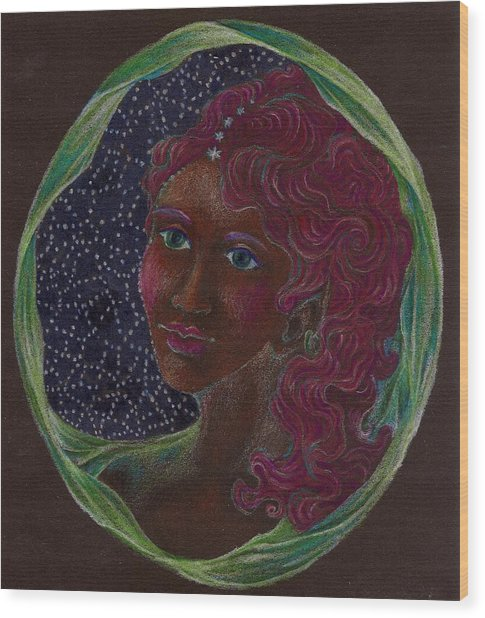 Goddess In The Window To The Sky Wood Print