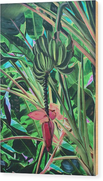 Wood Print featuring the mixed media Going Bananas by Deborah Boyd