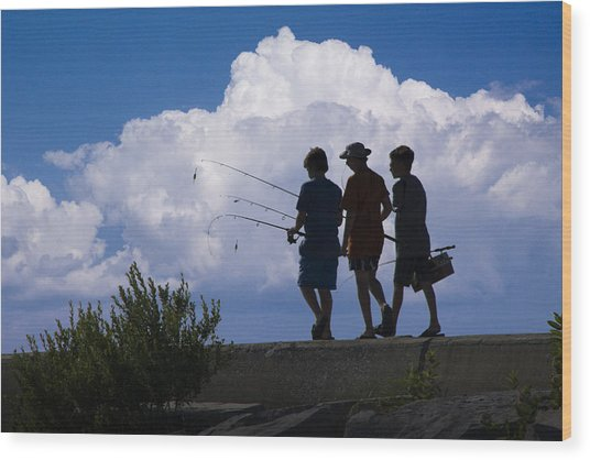 Going Fishing Wood Print
