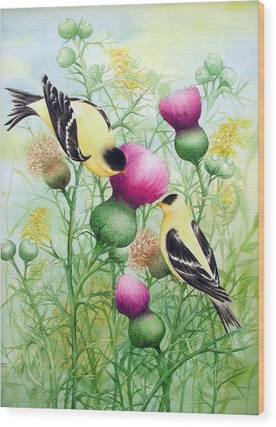 Gold Finches On Thistles Wood Print