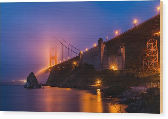 Golden Gate Wood Print by Mike Ronnebeck
