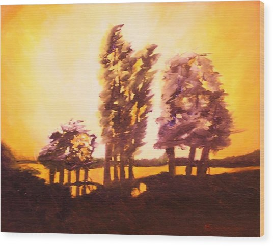 Golden Sky Wood Print