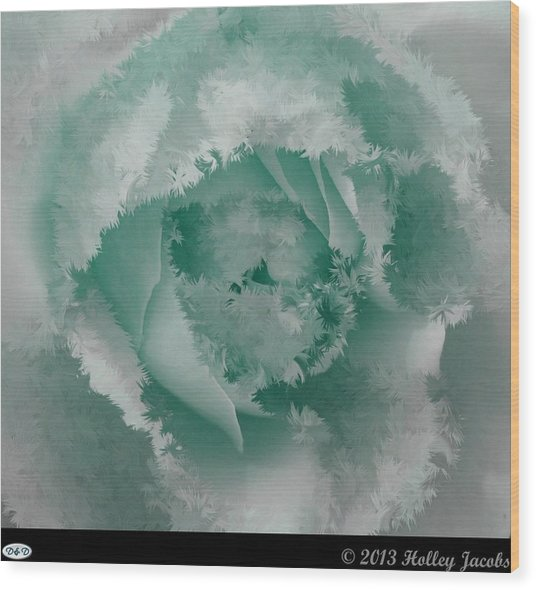 Granny's Rose Teal Wood Print by Holley Jacobs