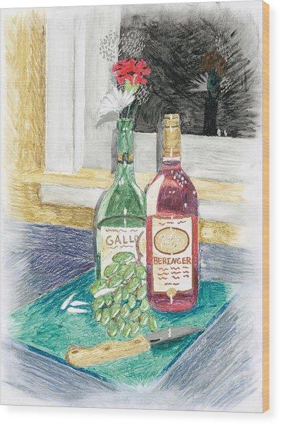 Grapes N Flowers Wood Print