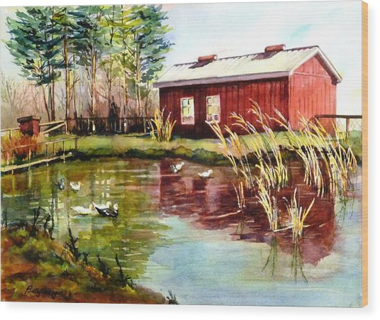 Green Acre Farm Wood Print