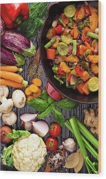 Grilled Vegetables Wood Print by Fcafotodigital