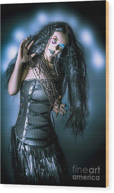 Grunge Brunette Vintage Woman In Black Fashion Wood Print