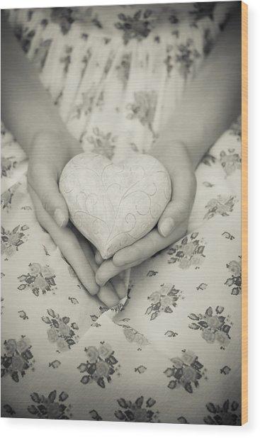 Hands Holding A Heart Wood Print