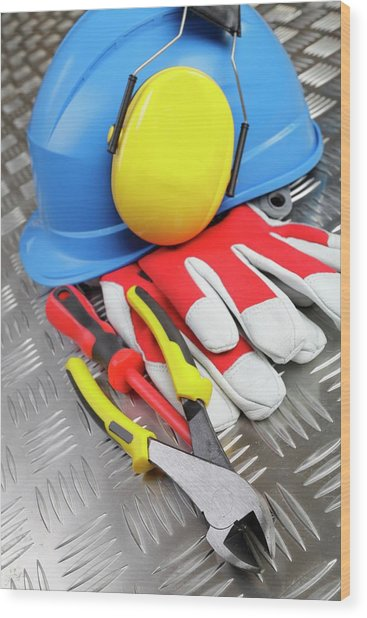 Hardhat And Tools Wood Print by Christian Lagerek/science Photo Library