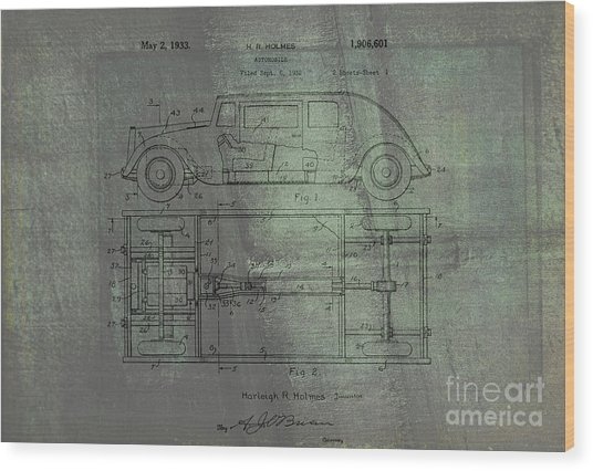 Harleigh Holmes Original Automobile Patent  Wood Print