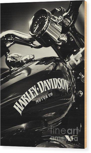 Harley D Sepia Wood Print