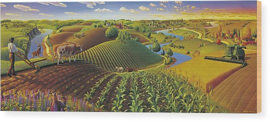 Harvest Panorama  Wood Print