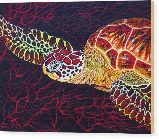Hawksbill Turtle Wood Print
