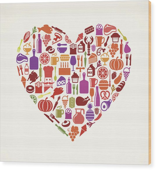 Heart Food & Drink Royalty Free Vector Wood Print