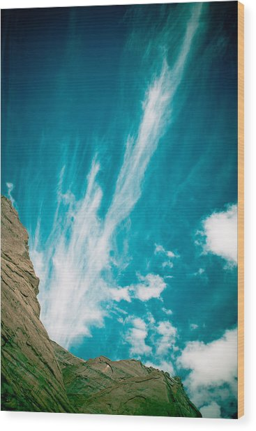 Himalyas Mountains In Tibet With Clouds Wood Print