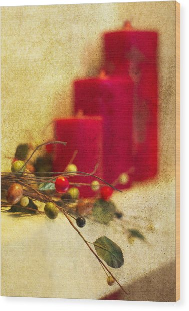 Holiday Candles Wood Print