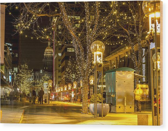 Holiday Lights In Denver Colorado Wood Print