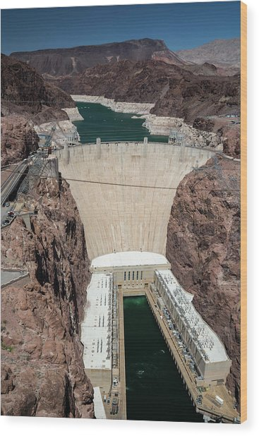 Hoover Dam And Lake Mead During Drought Wood Print by Jim West/science Photo Library
