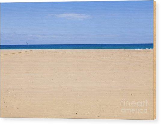 Horizontal Lines Of Sandy Beach Blue Sea And Sky Wood Print