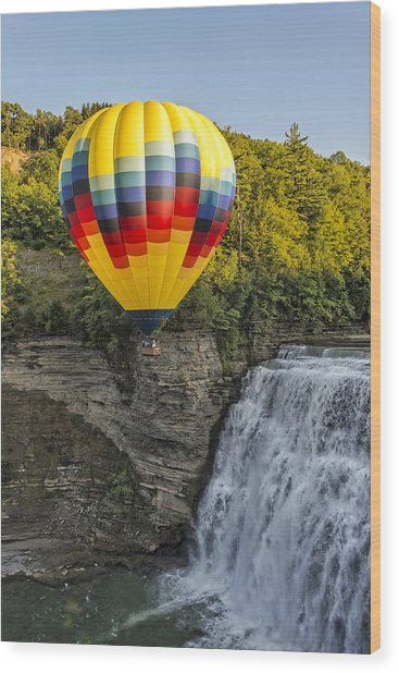 Hot Air Ballooning Over The Middle Falls At Letchworth State Par Wood Print