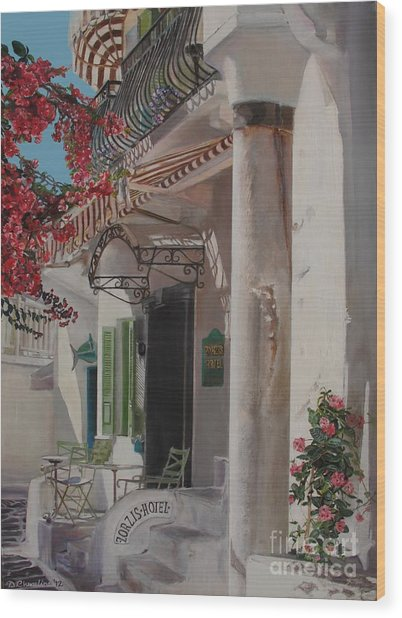 Hotel Zorziz Mykonos Greece Wood Print by Debra Chmelina
