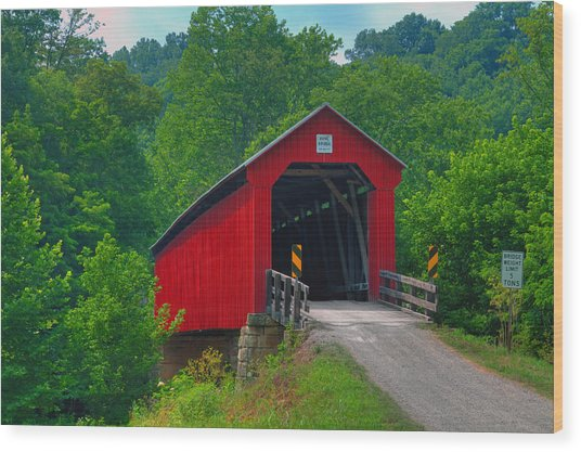 Hune Covered Bridge Wood Print