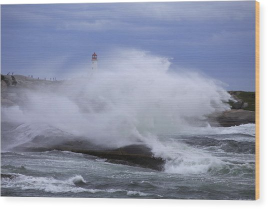 Hurricane Arthur 2014 Hits Peggy's Cove Wood Print