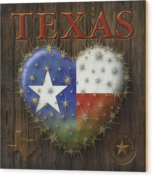 I Love Texas Wood Print