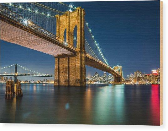 Illuminated Brooklyn Bridge By Night Wood Print