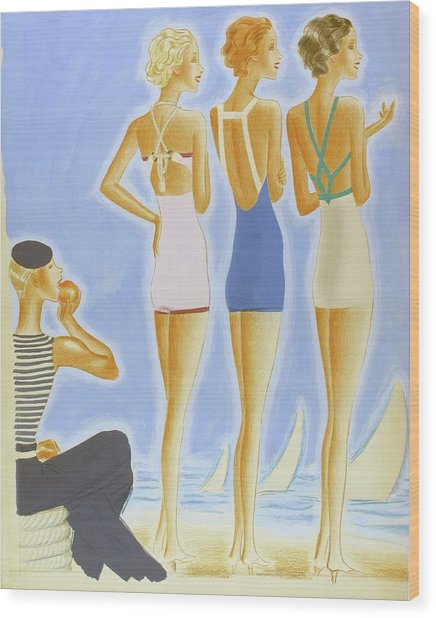 Illustration Of Models On A Beach Wearing Bathing Wood Print