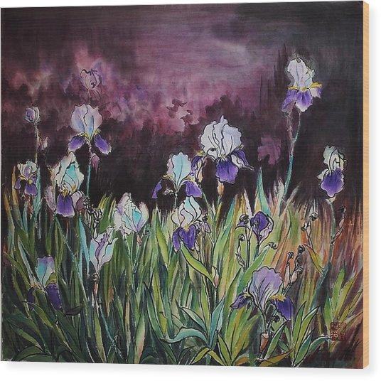 Iris In My Backyard Wood Print