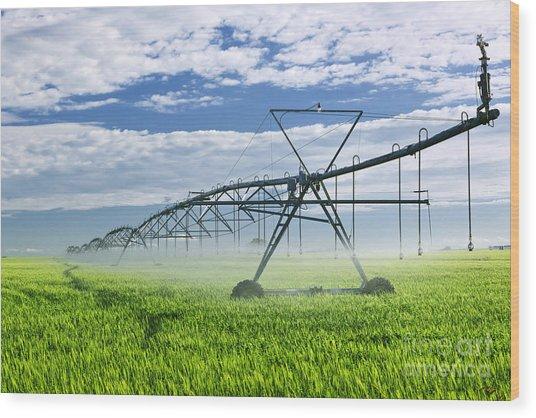 Irrigation Equipment On Farm Field Wood Print