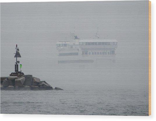 Island Home In Fog Wood Print