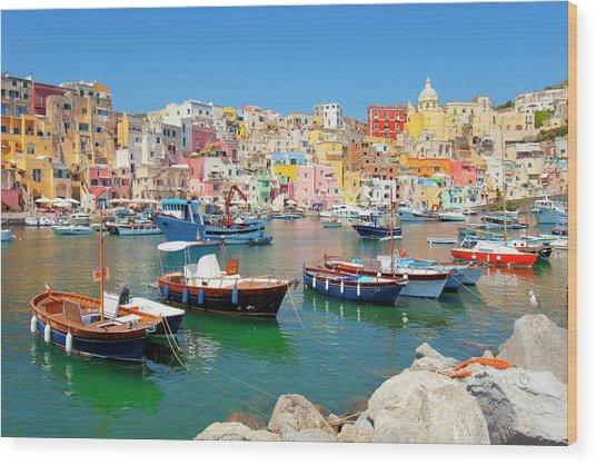 Italy, Procida Island, Corricella Wood Print by Frank Chmura