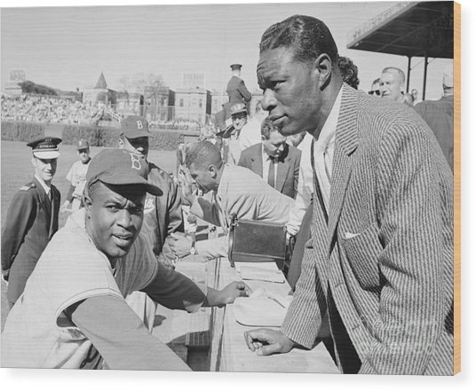 Jackie Robinson And Nat King Cole At Wrigley Field Wood Print by The Harrington Collection