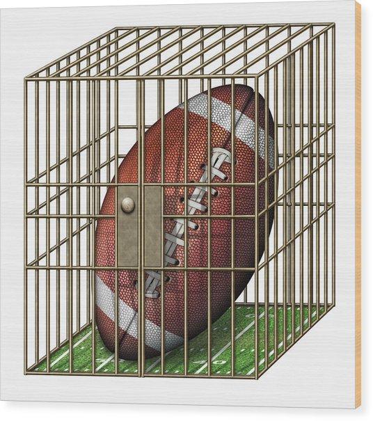 Jailed Football Wood Print