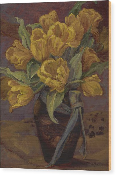 Yellow Tulips- And Buffalo Dreams Wood Print