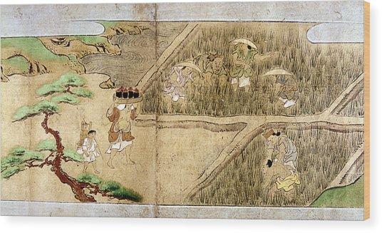 Japan Rice Farming Wood Print
