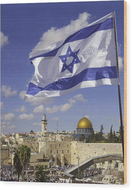 Jerusalem Old City Western Wall With Israeli Flag Wood Print by Stellalevi